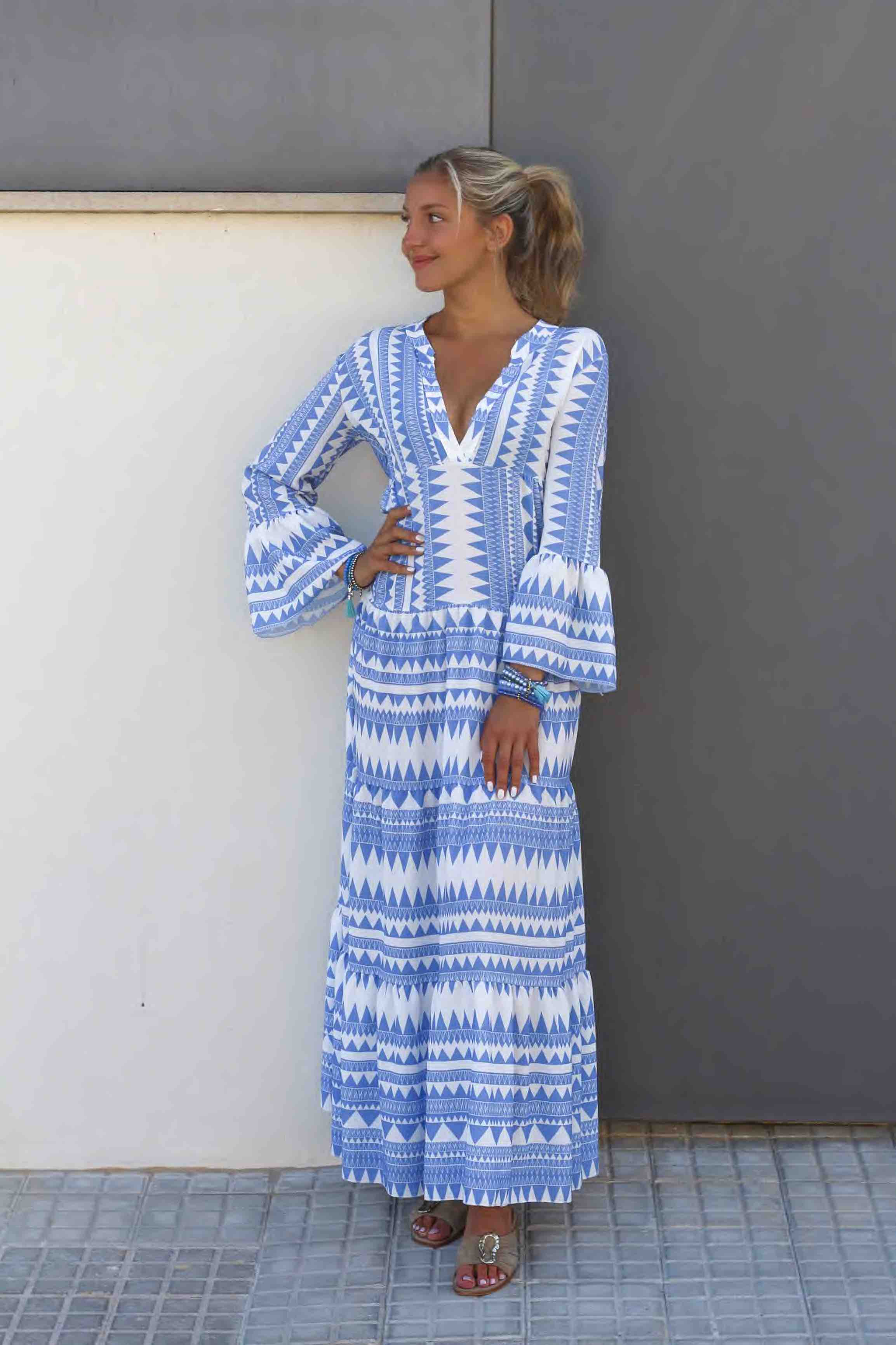 Amelie Kleid Blau Weiss Maxi I Miss Shophie London