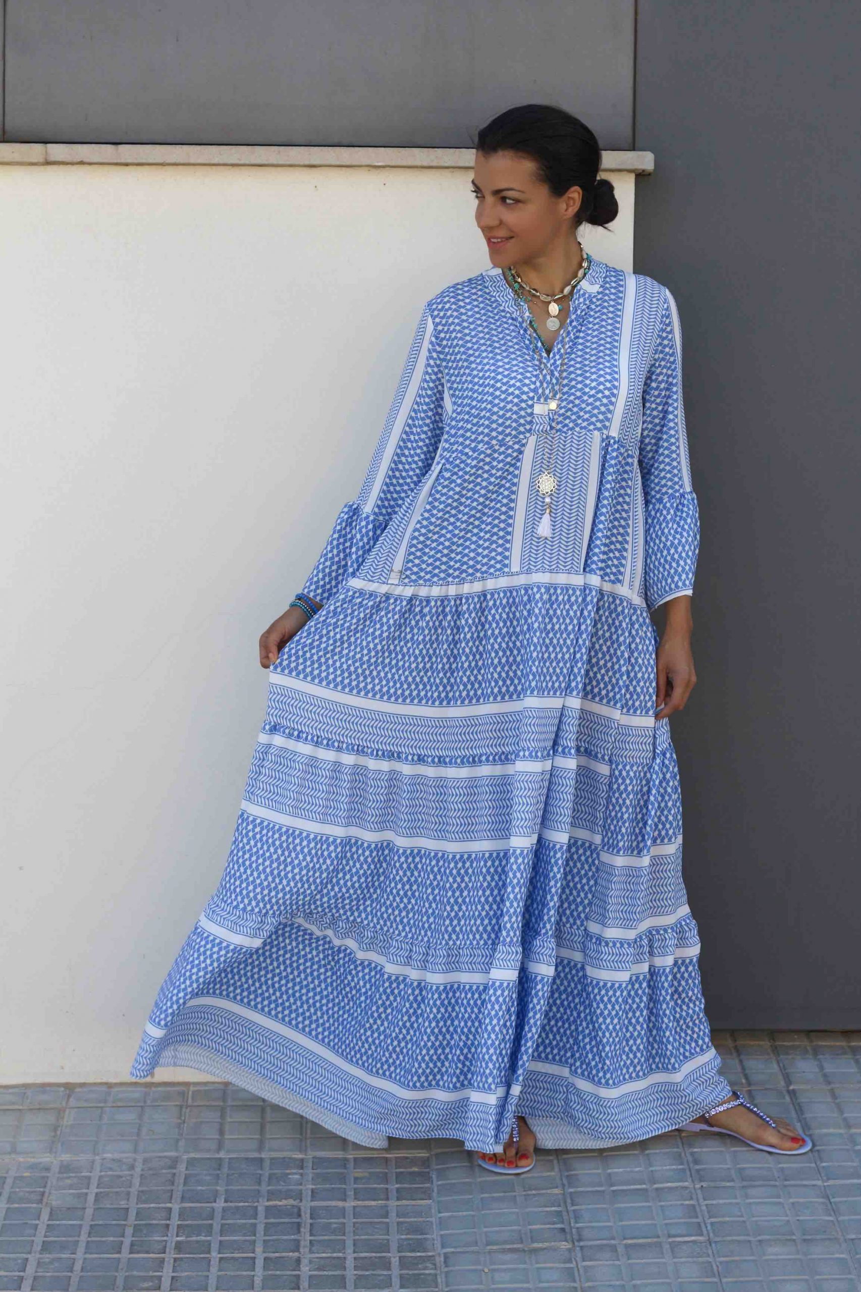 amelie kleid blau weiss maxi pali kleid