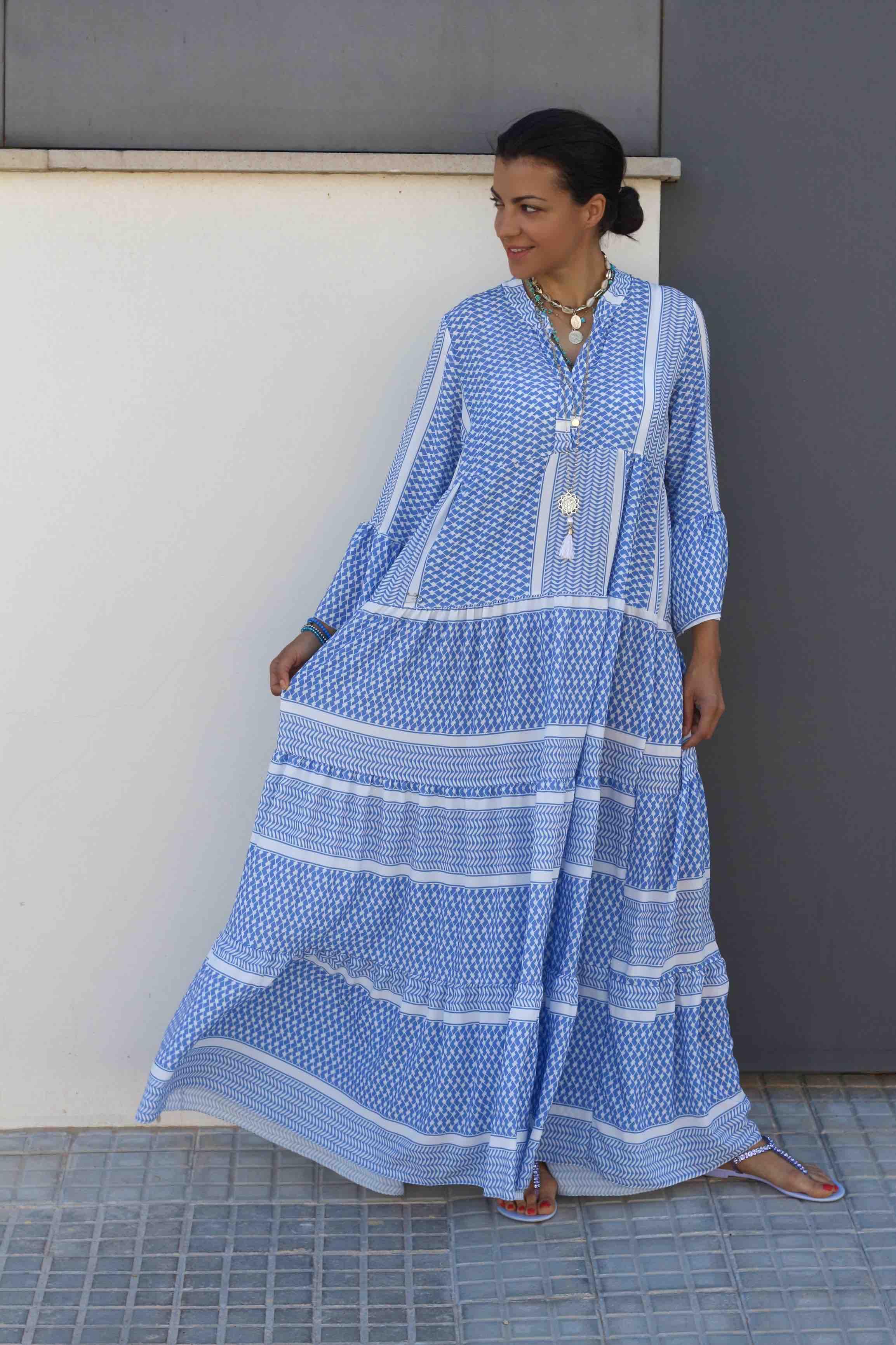 Weiß Blau Kleid