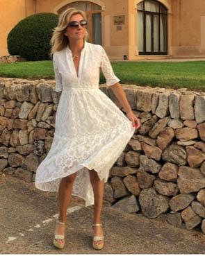 Weiß kurz kleid spitze Kleid Spitze