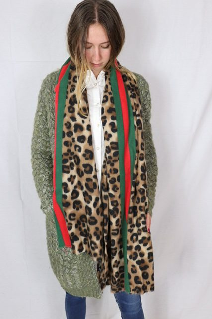 Blogger weicher XXL Cashmere Viscose Schal Tuch  Leo Leopard Rosen Neu